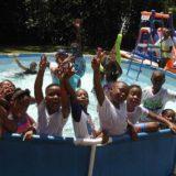 Summer camp swimming pool fun.