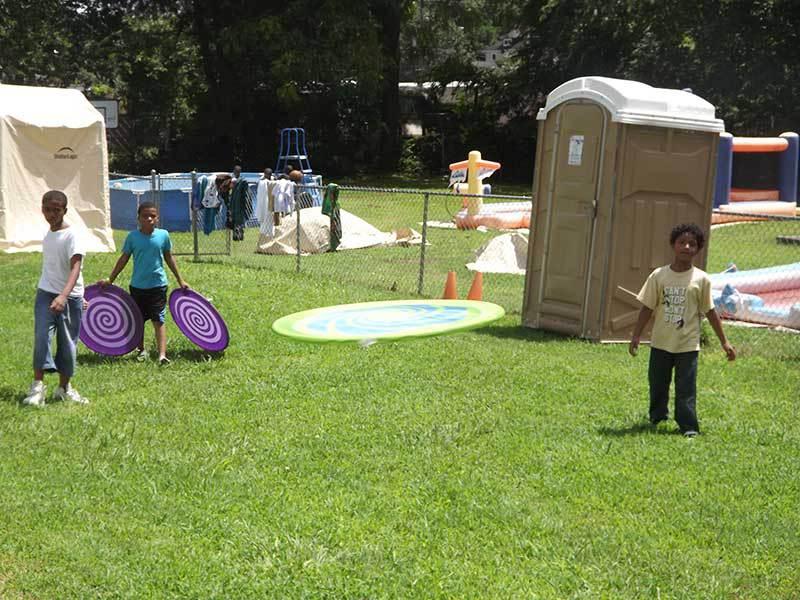 Playground fun at summer camp.