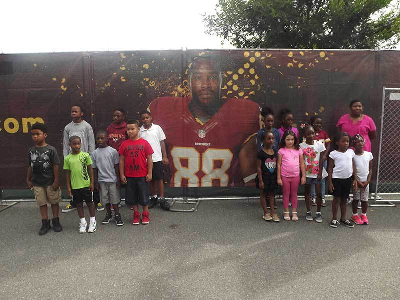 Students visiting Redskins training camp.